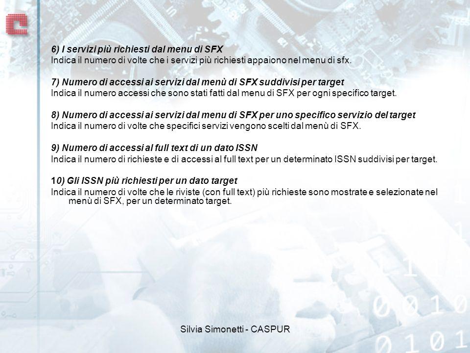 Silvia Simonetti - CASPUR 6) I servizi più richiesti dal menu di SFX Indica il numero di volte che i servizi più richiesti appaiono nel menu di sfx.