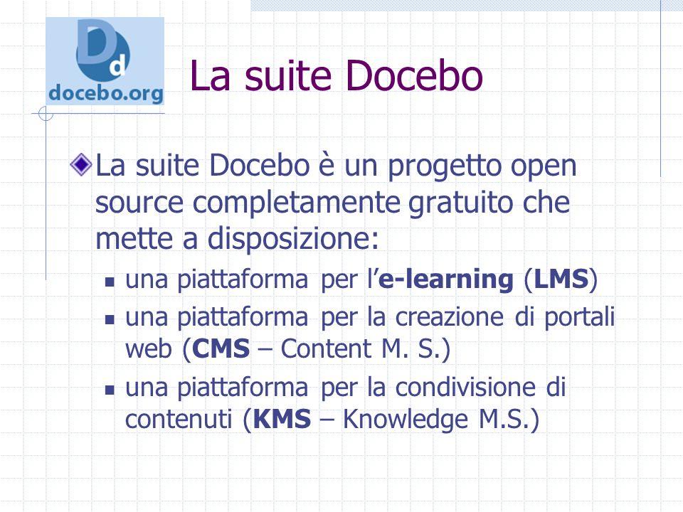 La suite Docebo La suite Docebo è un progetto open source completamente gratuito che mette a disposizione: una piattaforma per le-learning (LMS) una piattaforma per la creazione di portali web (CMS – Content M.