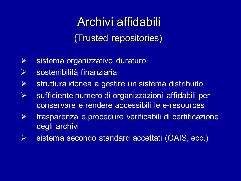 Archivi affidabili (Trusted repositories) sistema organizzativo duraturo sostenibilità finanziaria struttura idonea a gestire un sistema distribuito s
