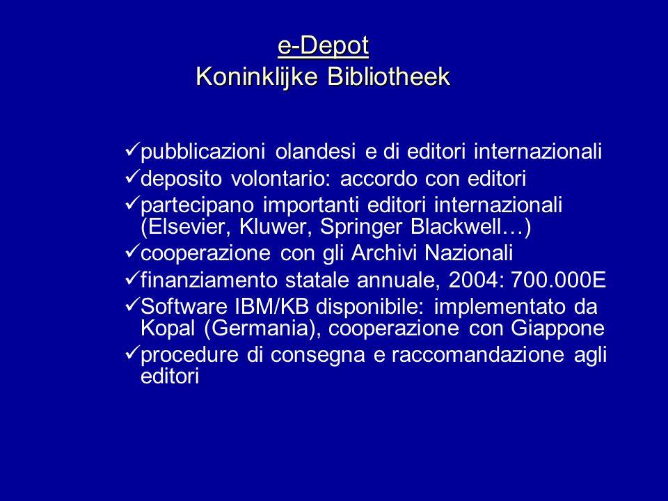 e-Depot Koninklijke Bibliotheek pubblicazioni olandesi e di editori internazionali deposito volontario: accordo con editori partecipano importanti edi