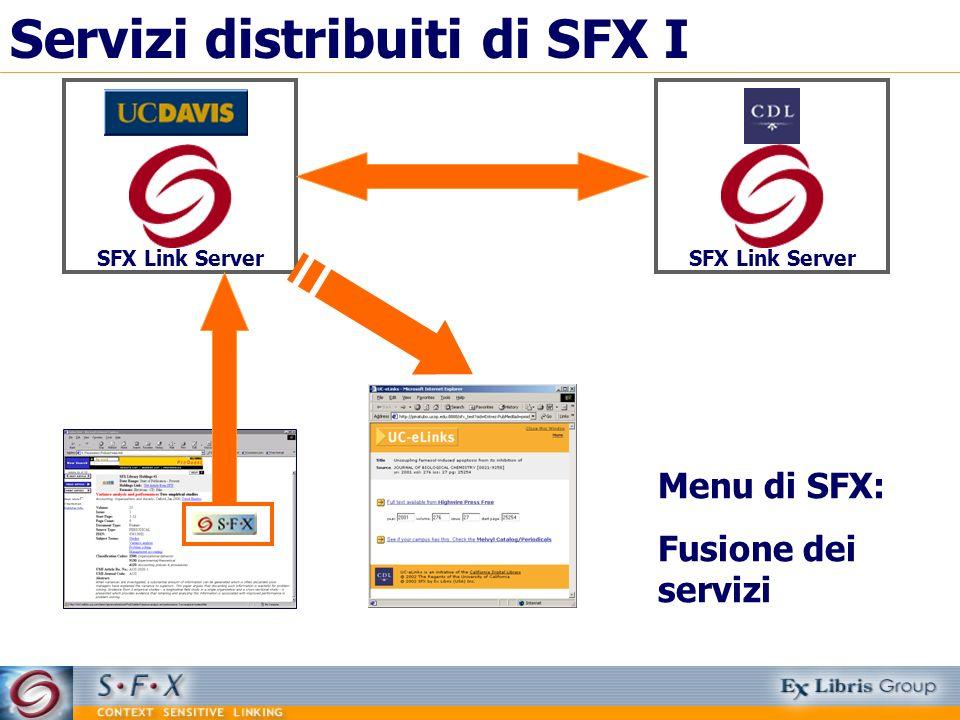 Servizi distribuiti di SFX I SFX Link Server Menu di SFX: Fusione dei servizi SFX Link Server