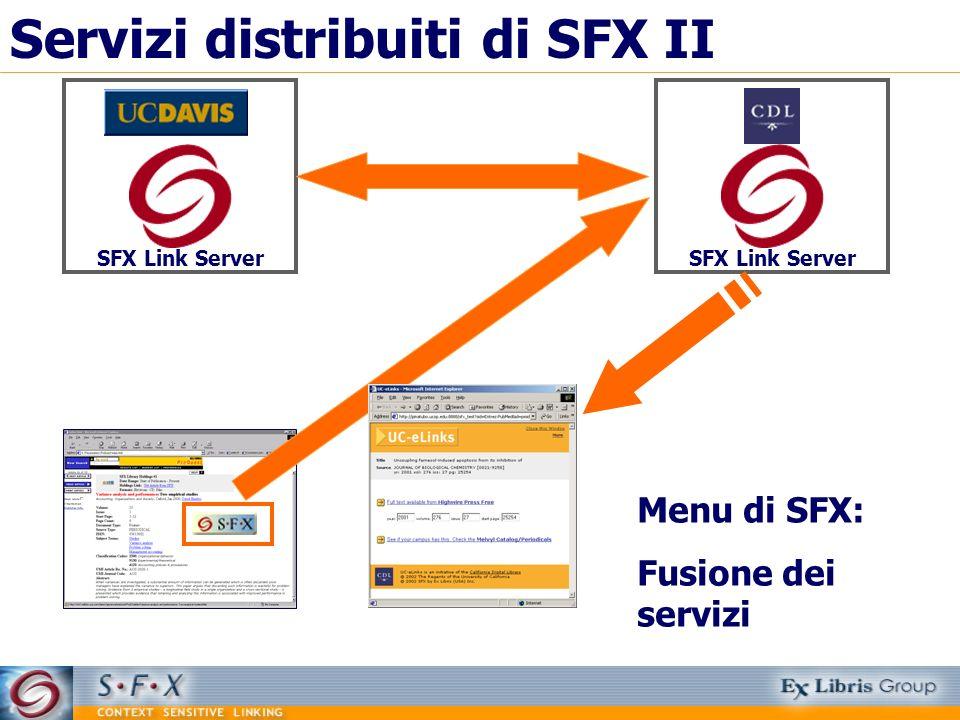 Servizi distribuiti di SFX II SFX Link Server Menu di SFX: Fusione dei servizi SFX Link Server