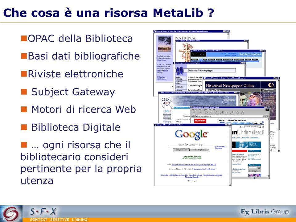 Che cosa è una risorsa MetaLib ? OPAC della Biblioteca Basi dati bibliografiche Riviste elettroniche Subject Gateway Motori di ricerca Web Biblioteca