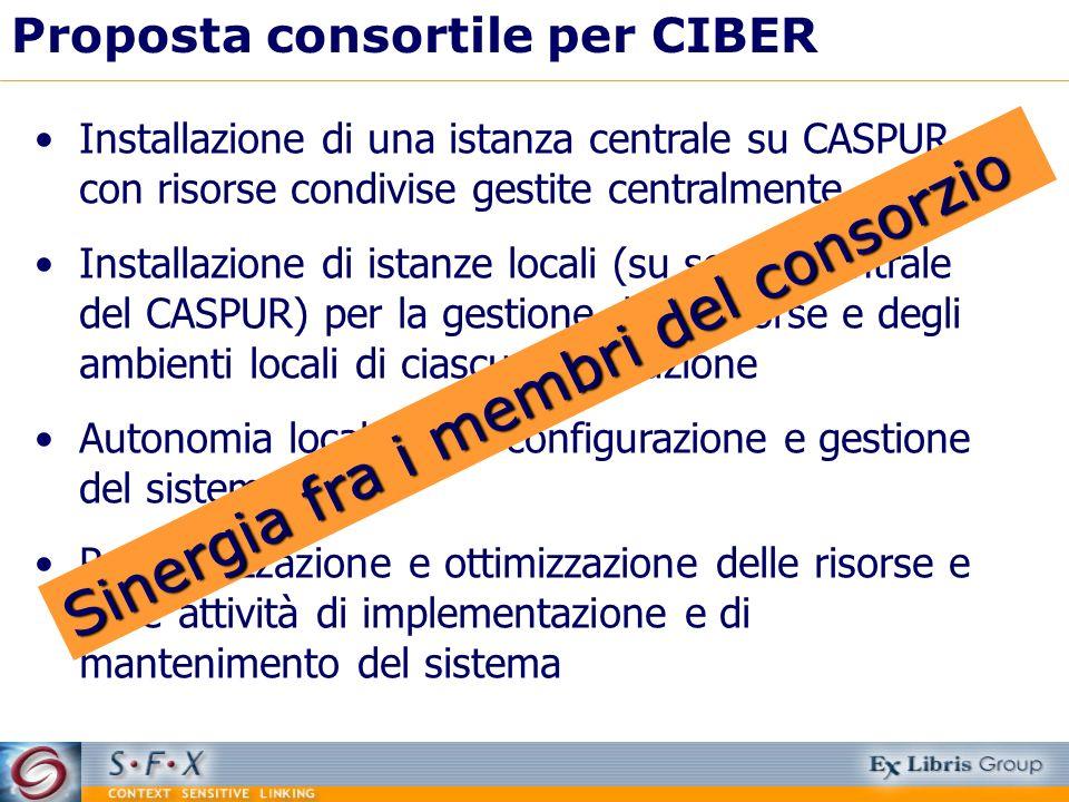 Proposta consortile per CIBER Installazione di una istanza centrale su CASPUR con risorse condivise gestite centralmente Installazione di istanze loca