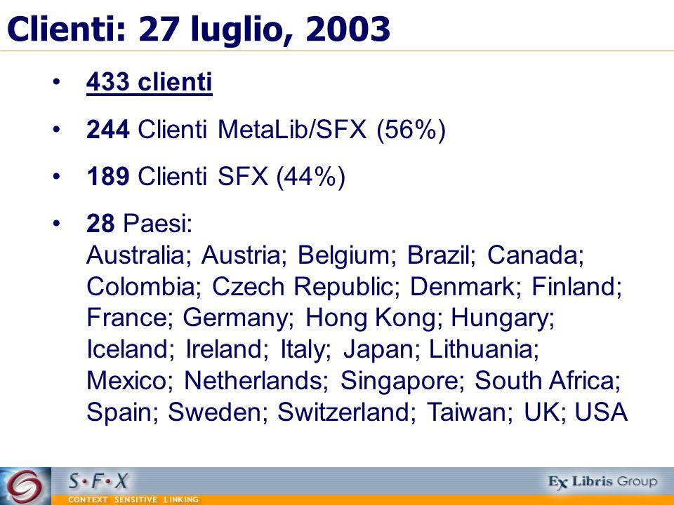 Clienti: 27 luglio, 2003 433 clienti 244 Clienti MetaLib/SFX (56%) 189 Clienti SFX (44%) 28 Paesi: Australia; Austria; Belgium; Brazil; Canada; Colomb