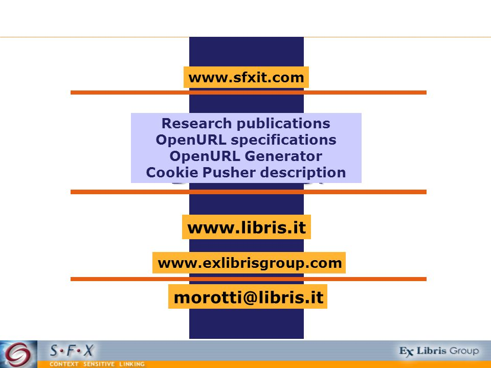 Domande? www.exlibrisgroup.com www.sfxit.com morotti@libris.it Research publications OpenURL specifications OpenURL Generator Cookie Pusher descriptio