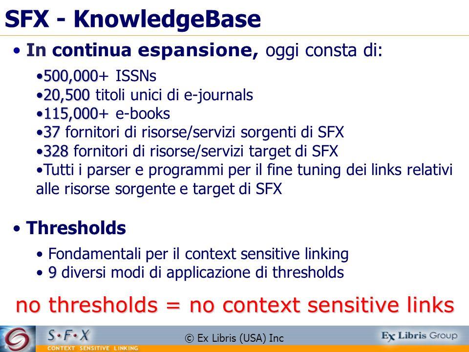 © Ex Libris (USA) Inc SFX - KnowledgeBase In continua espansione, oggi consta di: 500,000500,000+ ISSNs 20,50020,500 titoli unici di e-journals 115,00
