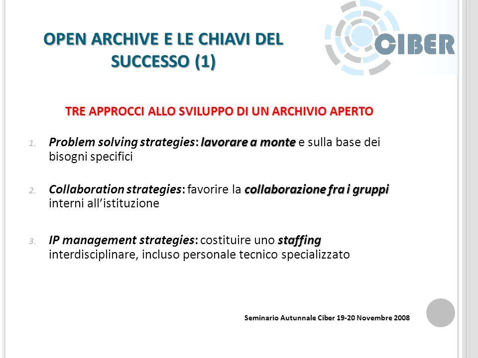 Open Archive e le chiavi del successo: premessa e fonti utilizzate Il Center for Informatics Research in Science and Scholarship (CIRSS) Fattori di su