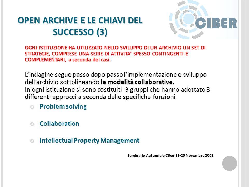 OPEN ARCHIVE E LE CHIAVI DEL SUCCESSO (2) Limplementazione di un Archivio Istituzionale deve andare al passo con lo sviluppo contestuale di un team di