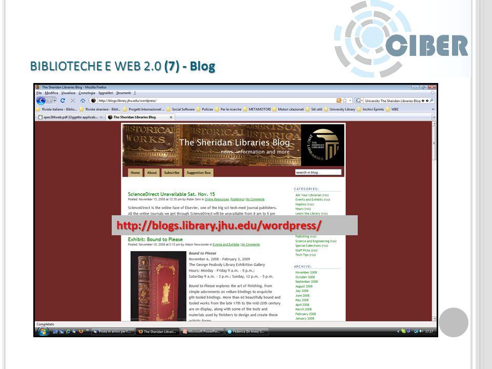 BIBLIOTECHE E WEB 2.0 (6) - Wiki http://library2.usask.ca/~fichter/wiki/