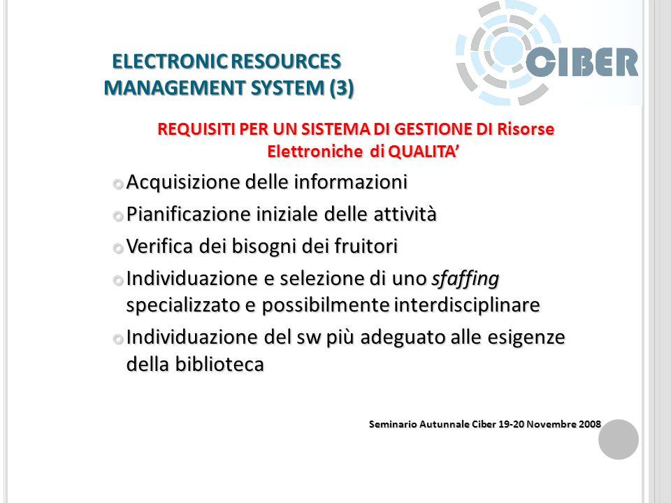 ELECTRONIC RESOURCES MANAGEMENT SYSTEM (2) DAI SISTEMI INTEGRATI AGLI ERMS IL NUOVO SCENARIO Sistemi per la Gestione delle RE Sistemi per la Gestione