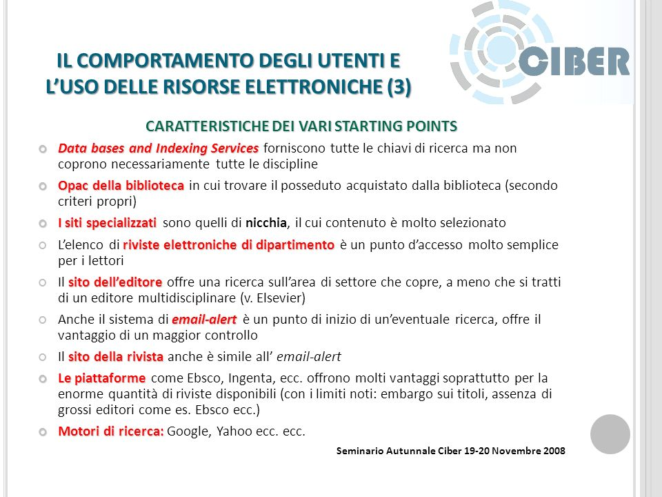 BIBLIOTECHE E WEB 2.0 (2) Social Software in Libraries Social networking - Facebook Media sharing - Flickr Social bookmarking - Connotea Wikis and blogs - University of Minnesota e John Hopkins University ( http://bioingegneria.wordpress.com/ ) es.