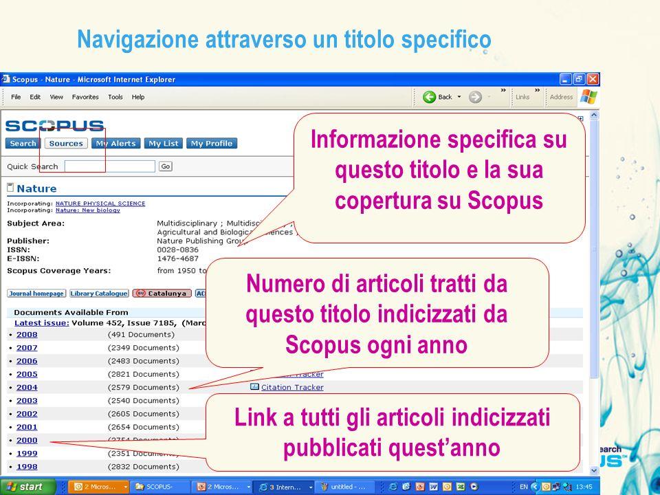 Navigazione attraverso un titolo specifico Informazione specifica su questo titolo e la sua copertura su Scopus Numero di articoli tratti da questo ti