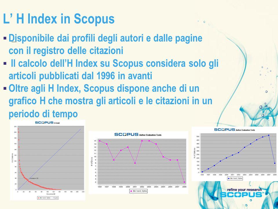 L H Index in Scopus Disponibile dai profili degli autori e dalle pagine con il registro delle citazioni Il calcolo dellH Index su Scopus considera sol