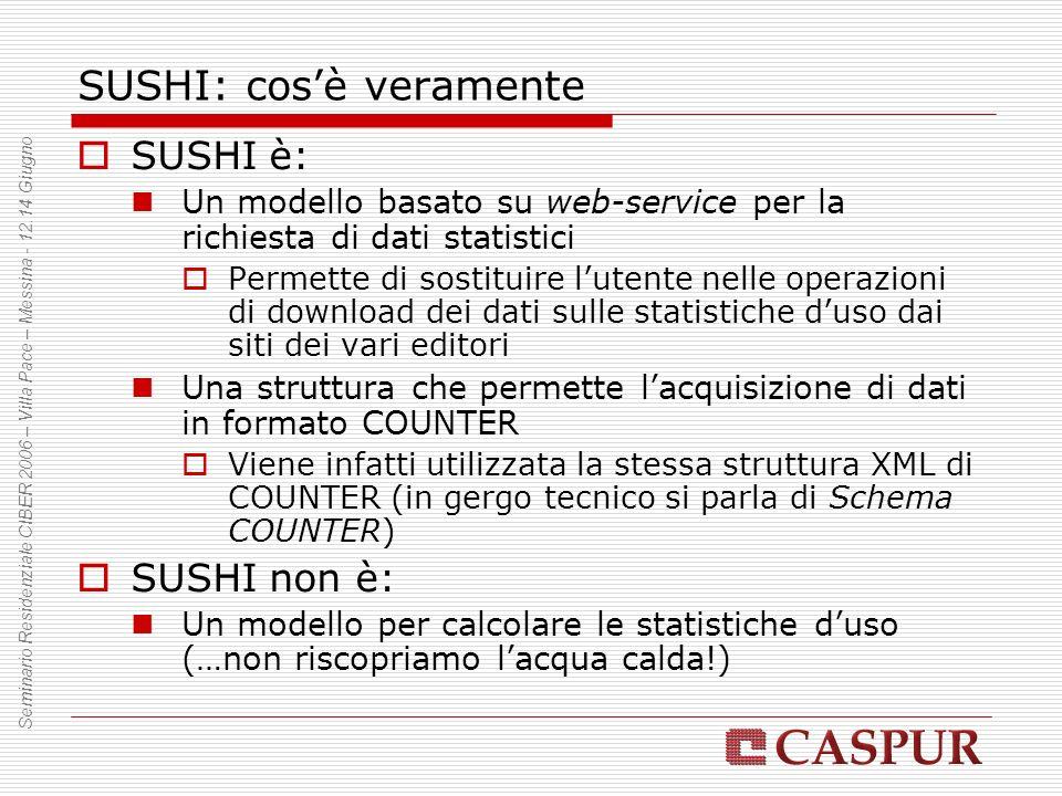 SUSHI: cosè veramente SUSHI è: Un modello basato su web-service per la richiesta di dati statistici Permette di sostituire lutente nelle operazioni di download dei dati sulle statistiche duso dai siti dei vari editori Una struttura che permette lacquisizione di dati in formato COUNTER Viene infatti utilizzata la stessa struttura XML di COUNTER (in gergo tecnico si parla di Schema COUNTER) SUSHI non è: Un modello per calcolare le statistiche duso (…non riscopriamo lacqua calda!) Seminario Residenziale CIBER 2006 – Villa Pace – Messina - 12.14 Giugno