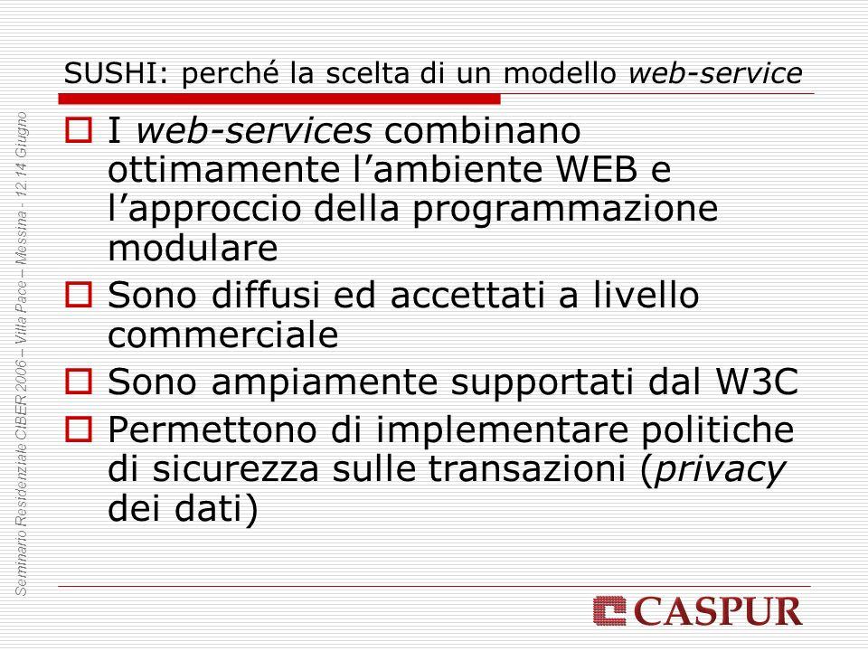 SUSHI: perché la scelta di un modello web-service I web-services combinano ottimamente lambiente WEB e lapproccio della programmazione modulare Sono d