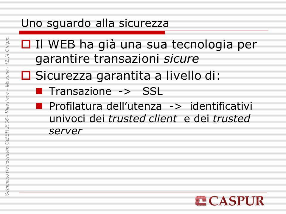 Uno sguardo alla sicurezza Il WEB ha già una sua tecnologia per garantire transazioni sicure Sicurezza garantita a livello di: Transazione -> SSL Prof