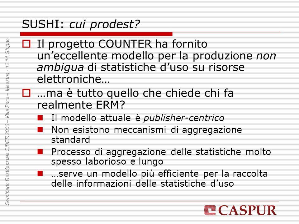 SUSHI: cui prodest? Il progetto COUNTER ha fornito uneccellente modello per la produzione non ambigua di statistiche duso su risorse elettroniche… …ma