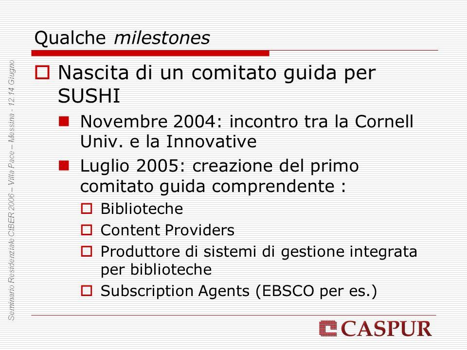 Qualche milestones Nascita di un comitato guida per SUSHI Novembre 2004: incontro tra la Cornell Univ. e la Innovative Luglio 2005: creazione del prim