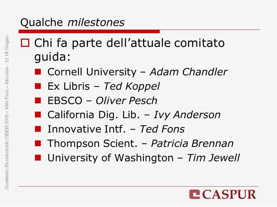 Qualche milestones Chi fa parte dellattuale comitato guida: Cornell University – Adam Chandler Ex Libris – Ted Koppel EBSCO – Oliver Pesch California