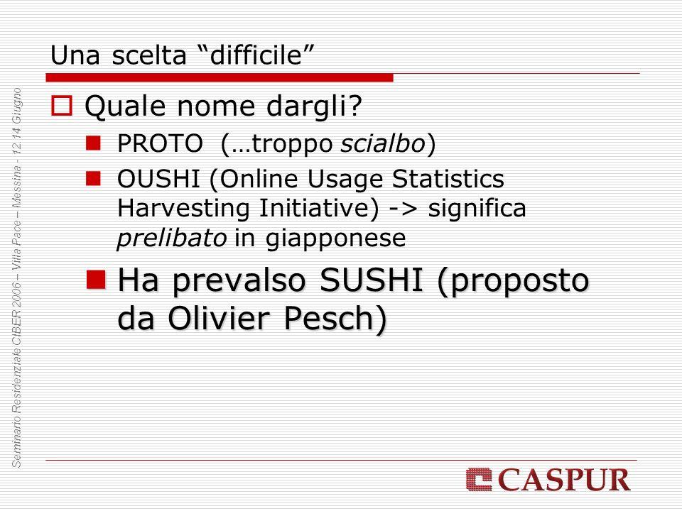 Una scelta difficile Quale nome dargli? PROTO (…troppo scialbo) OUSHI (Online Usage Statistics Harvesting Initiative) -> significa prelibato in giappo