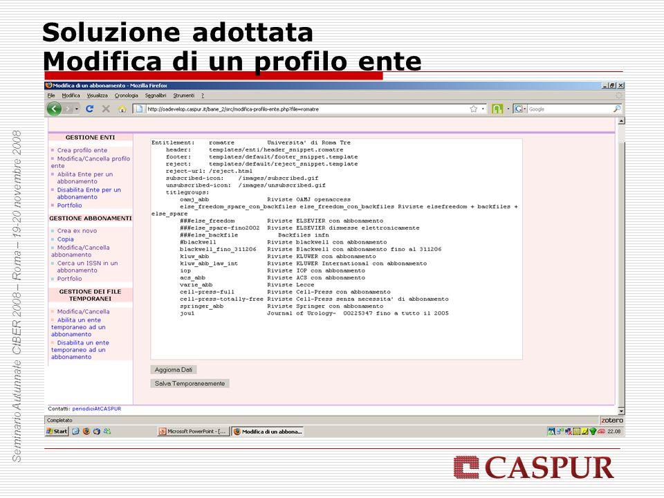 Soluzione adottata Modifica di un profilo ente Seminario Autunnale CIBER 2008 – Roma – 19-20 novembre 2008