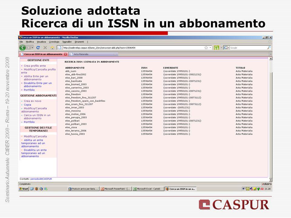 Soluzione adottata Ricerca di un ISSN in un abbonamento Seminario Autunnale CIBER 2008 – Roma – 19-20 novembre 2008
