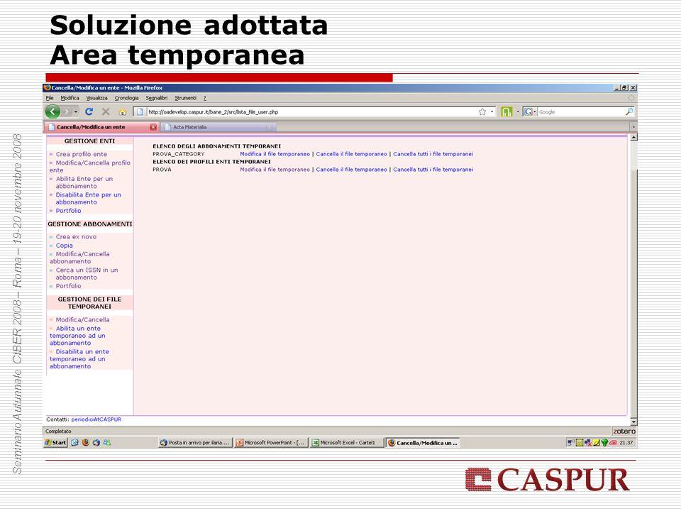 Soluzione adottata Area temporanea Seminario Autunnale CIBER 2008 – Roma – 19-20 novembre 2008