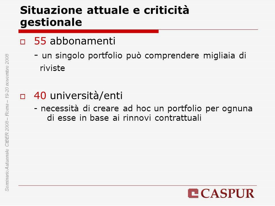 Situazione attuale e criticità gestionale 55 abbonamenti - un singolo portfolio può comprendere migliaia di riviste 40 università/enti - necessità di