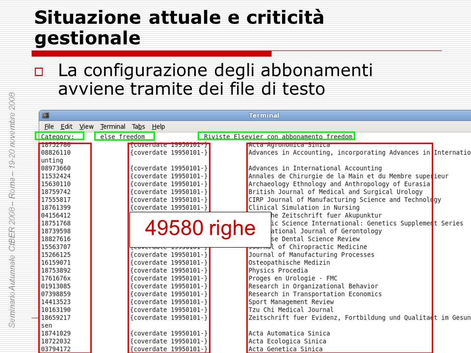 Situazione attuale e criticità gestionale La configurazione degli abbonamenti avviene tramite dei file di testo Seminario Autunnale CIBER 2008 – Roma – 19-20 novembre 2008 49580 righe