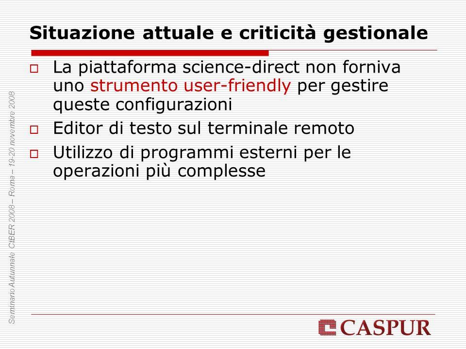 Situazione attuale e criticità gestionale La piattaforma science-direct non forniva uno strumento user-friendly per gestire queste configurazioni Edit