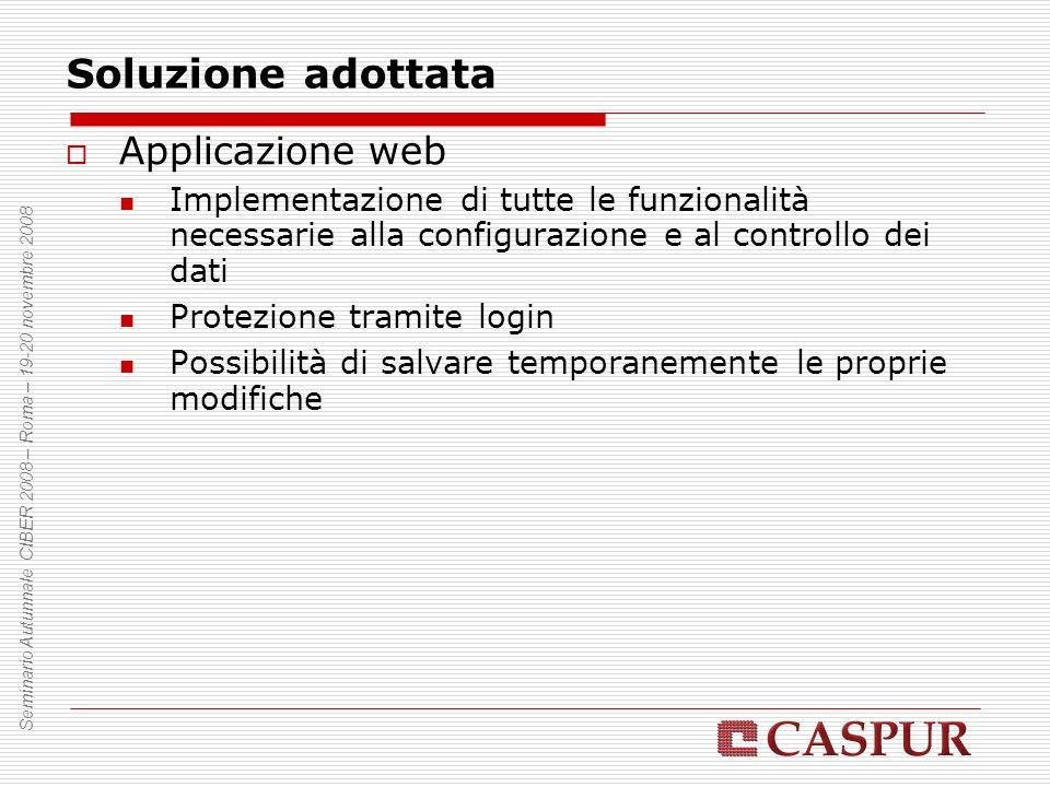 Soluzione adottata Applicazione web Implementazione di tutte le funzionalità necessarie alla configurazione e al controllo dei dati Protezione tramite login Possibilità di salvare temporanemente le proprie modifiche Seminario Autunnale CIBER 2008 – Roma – 19-20 novembre 2008