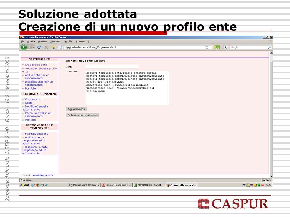 Soluzione adottata Creazione di un nuovo profilo ente Seminario Autunnale CIBER 2008 – Roma – 19-20 novembre 2008