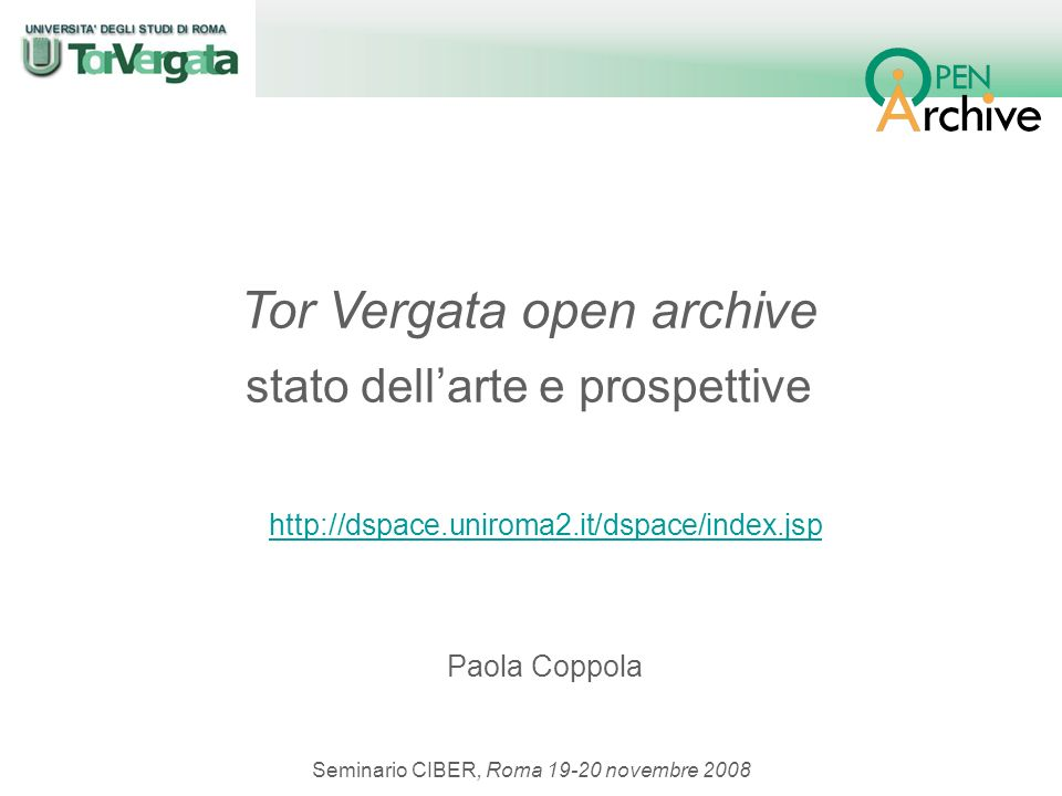 Paola Coppola, CIBER, 19-20 novembre 2008 http://dspace.uniroma2.it/dspace/index.jsp http://dspace.uniroma2.it/dspace/index.jsp Paola Coppola Seminari