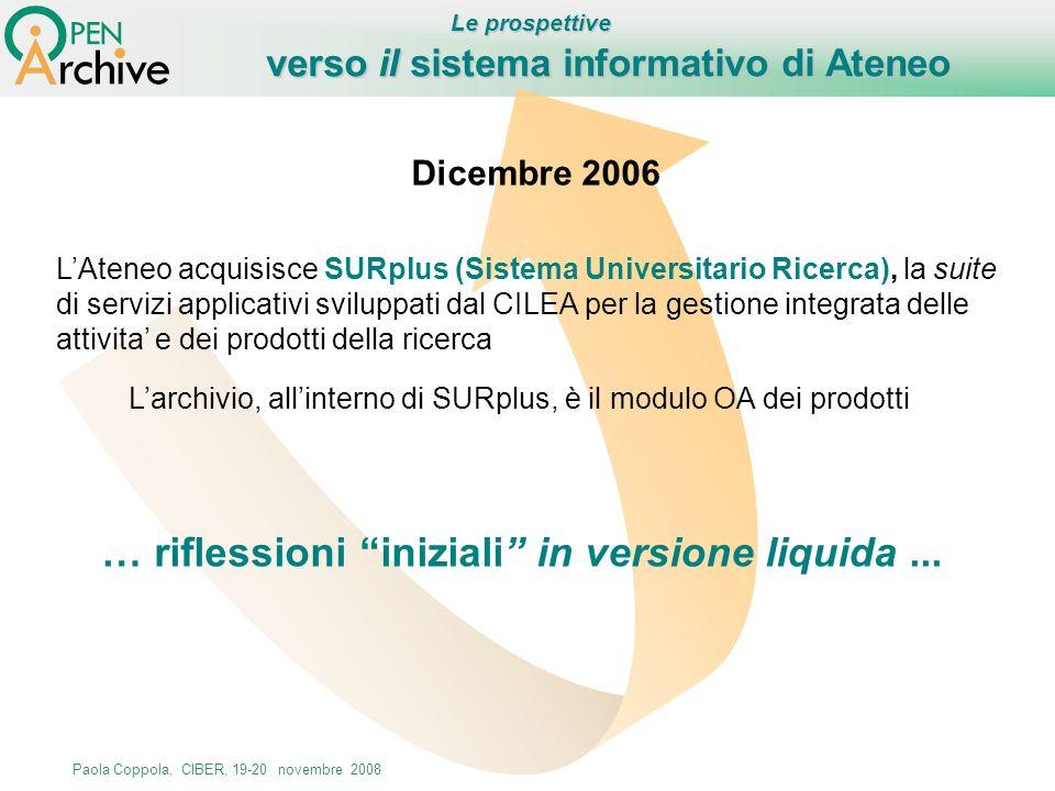 Paola Coppola, CIBER, 19-20 novembre 2008 verso il sistema informativo di Ateneo Dicembre 2006 LAteneo acquisisce SURplus (Sistema Universitario Ricer