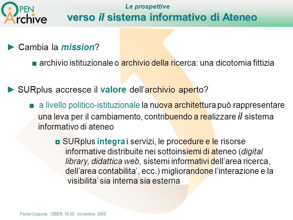 Paola Coppola, CIBER, 19-20 novembre 2008 Cambia la mission? archivio istituzionale o archivio della ricerca: una dicotomia fittizia SURplus accresce
