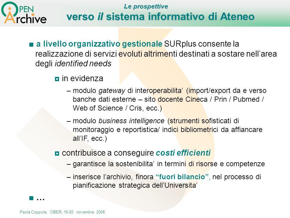 Paola Coppola, CIBER, 19-20 novembre 2008 a livello organizzativo gestionale SURplus consente la realizzazione di servizi evoluti altrimenti destinati