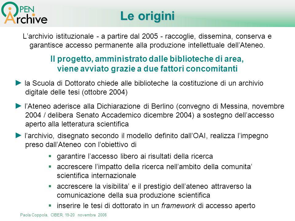 Paola Coppola, CIBER, 19-20 novembre 2008 Le origini Larchivio istituzionale - a partire dal 2005 - raccoglie, dissemina, conserva e garantisce access