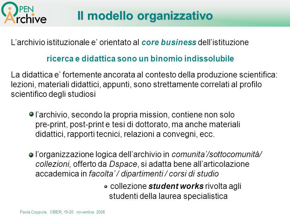 Paola Coppola, CIBER, 19-20 novembre 2008 Larchivio istituzionale e orientato al core business dellistituzione ricerca e didattica sono un binomio ind