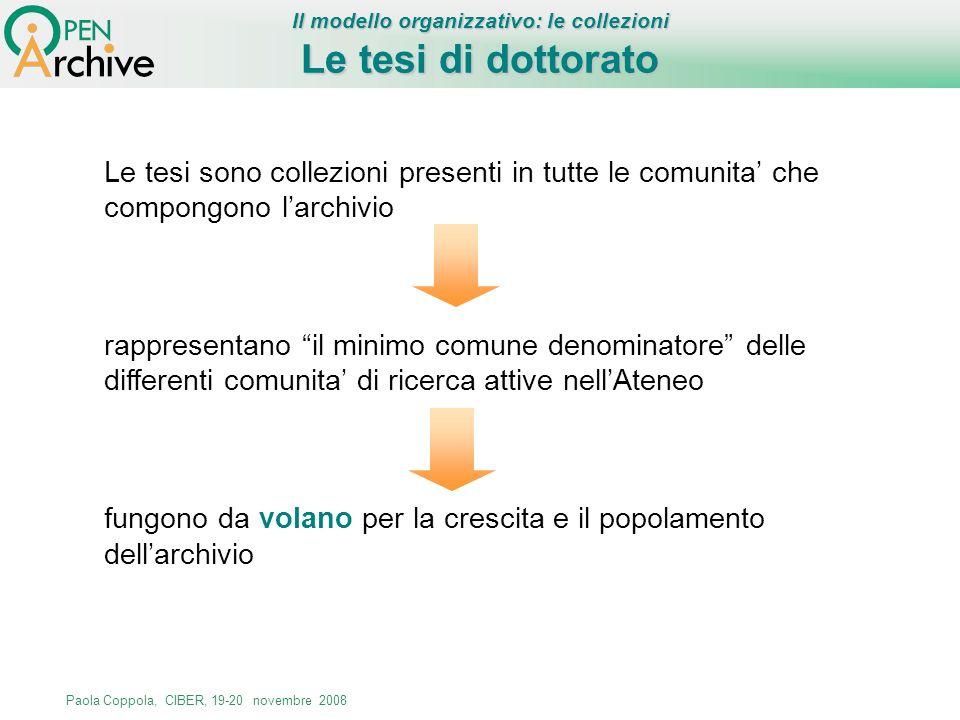 Paola Coppola, CIBER, 19-20 novembre 2008 Le tesi sono collezioni presenti in tutte le comunita che compongono larchivio rappresentano il minimo comun