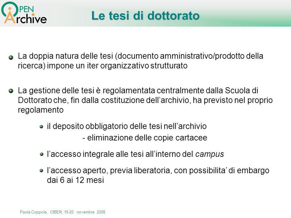 Paola Coppola, CIBER, 19-20 novembre 2008 La gestione delle tesi è regolamentata centralmente dalla Scuola di Dottorato che, fin dalla costituzione de