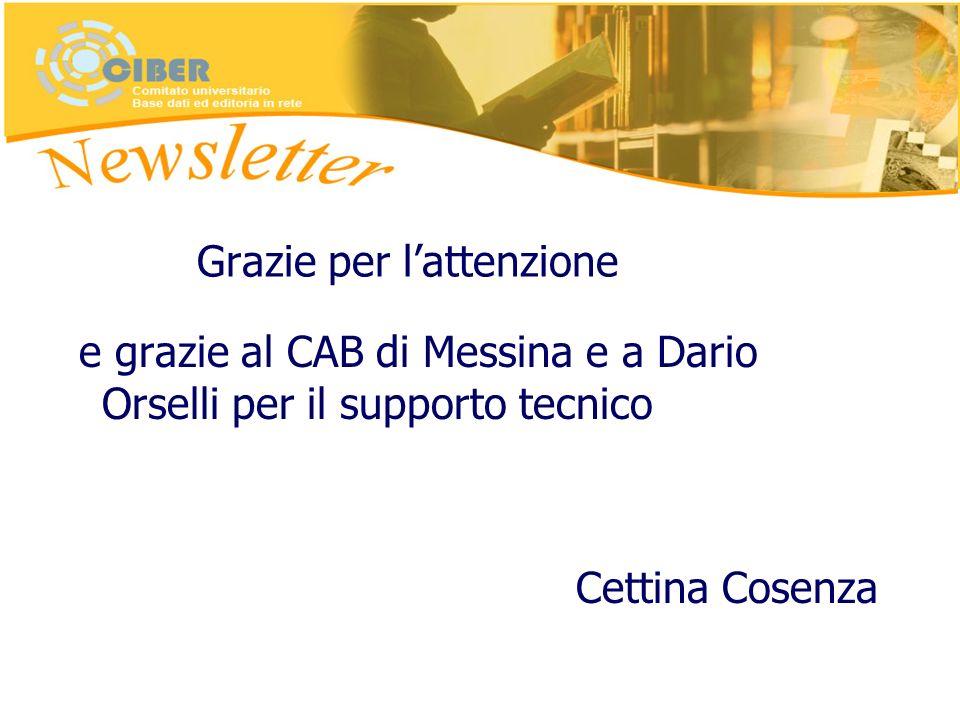 Grazie per lattenzione e grazie al CAB di Messina e a Dario Orselli per il supporto tecnico Cettina Cosenza