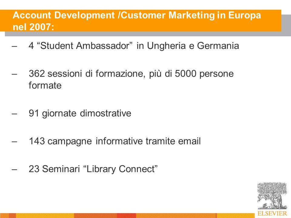 Account Development /Customer Marketing in Europa nel 2007: –4 Student Ambassador in Ungheria e Germania –362 sessioni di formazione, più di 5000 persone formate –91 giornate dimostrative –143 campagne informative tramite email –23 Seminari Library Connect