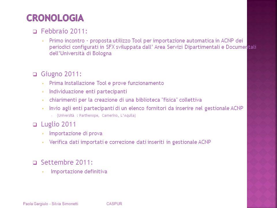 Estrazione dei dati configurati su SFX in formato xml Creazione elenco fornitori con arricchimento di informazioni sulla descrizione del servizio Paola Gargiulo - Silvia Simonetti CASPUR
