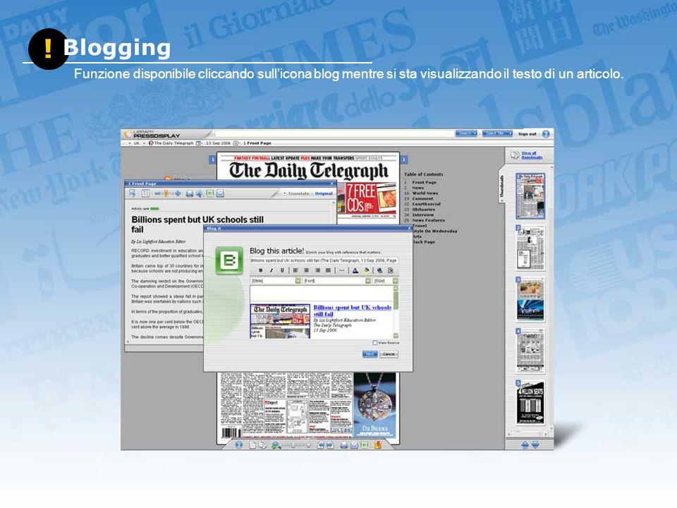 ! Blogging Funzione disponibile cliccando sullicona blog mentre si sta visualizzando il testo di un articolo.