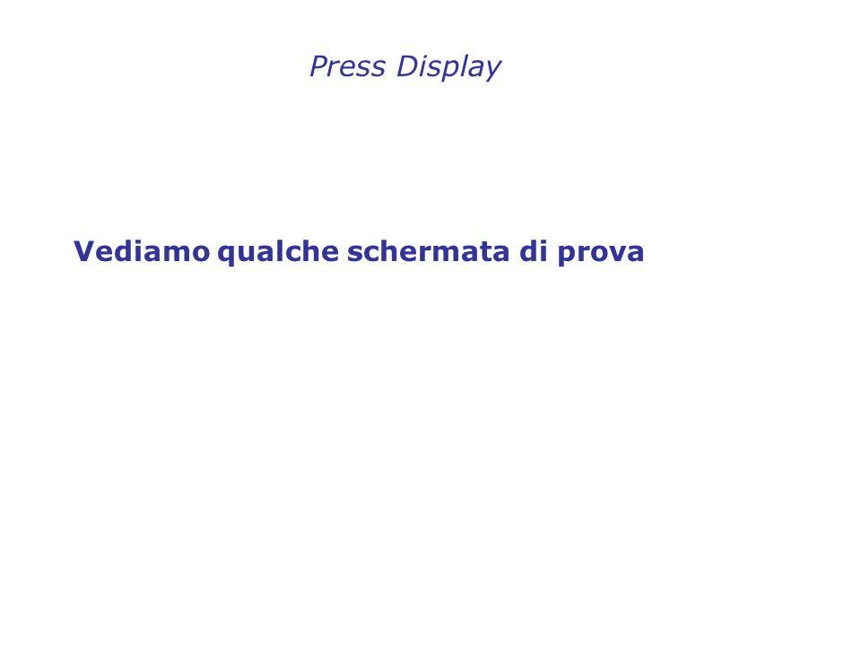 Vediamo qualche schermata di prova Press Display