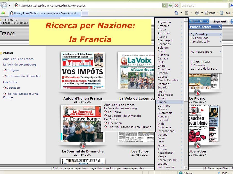 Ricerca per Nazione: la Francia