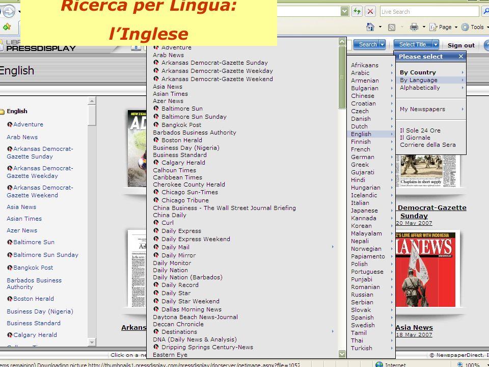 Ricerca per Lingua: lInglese