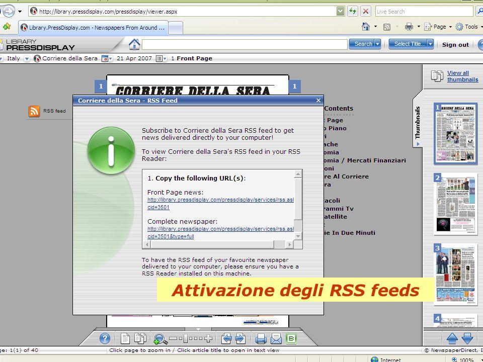 Attivazione degli RSS feeds