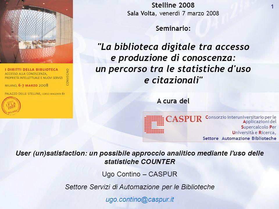 Carlo Maria Serio - c.serio@caspur.it 22 Distribuzione % mensile T.A vs FT nel triennio 05-07 per il CIBER Media = 1,75% …è questo una misura della customer unsatisfaction?